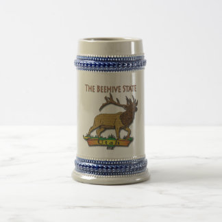 Utah The Beehive State Elk Brown Beer Stein