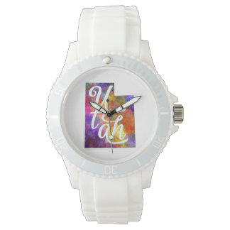 Utah U.S. State in watercolor text cut out Watch