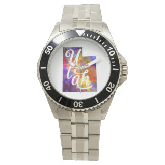 Utah U.S. State in watercolor text cut out Watches