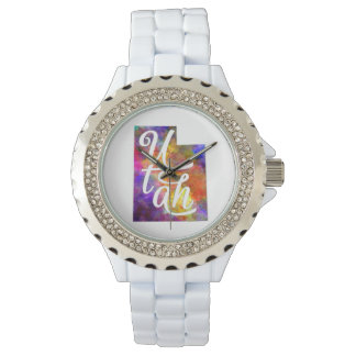 Utah U.S. State in watercolor text cut out Wrist Watch