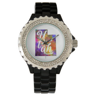 Utah U.S. State in watercolor text cut out Wristwatch