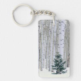UTAH. USA. Aspen (Populus tremuloides) & Douglas Double-Sided Rectangular Acrylic Keychain