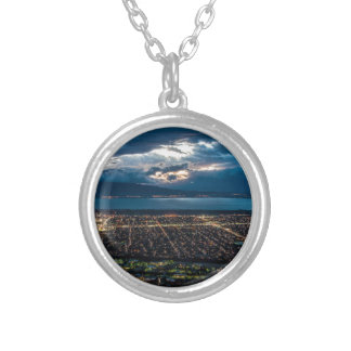 Utah Valley And Provo At Sunset Silver Plated Necklace