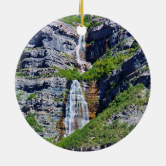 Utah Waterfall #1a- Christmas Ornament - round