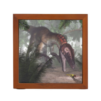 Utahraptor dinosaur hunting a gecko desk organizer
