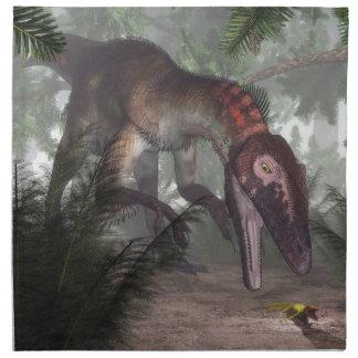 Utahraptor dinosaur hunting a gecko napkin