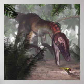 Utahraptor dinosaur hunting a gecko poster