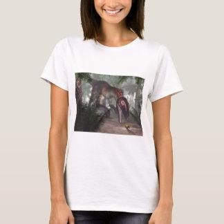 Utahraptor dinosaur hunting a gecko T-Shirt
