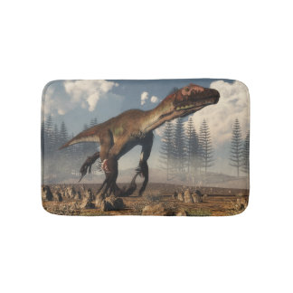 Utahraptor dinosaur in the desert - 3D render Bath Mat