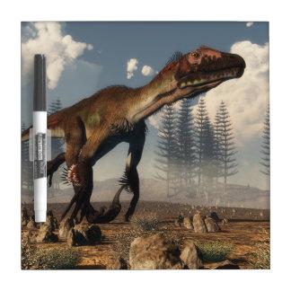 Utahraptor dinosaur in the desert - 3D render Dry Erase Board