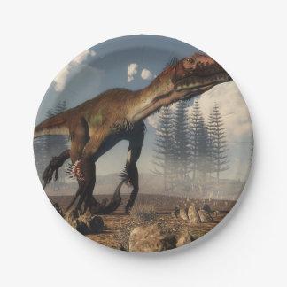 Utahraptor dinosaur in the desert - 3D render Paper Plate