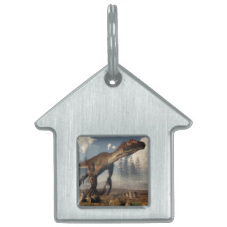 Utahraptor dinosaur in the desert - 3D render Pet ID Tag