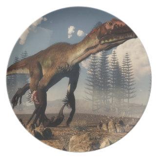 Utahraptor dinosaur in the desert - 3D render Plate