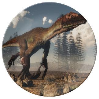 Utahraptor dinosaur in the desert - 3D render Porcelain Plates