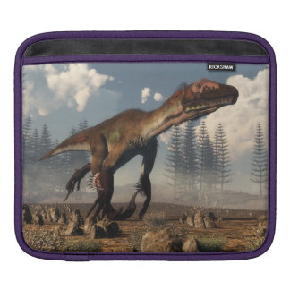 Utahraptor dinosaur in the desert - 3D render Sleeves For iPads