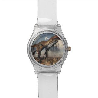 Utahraptor dinosaur in the desert - 3D render Watch