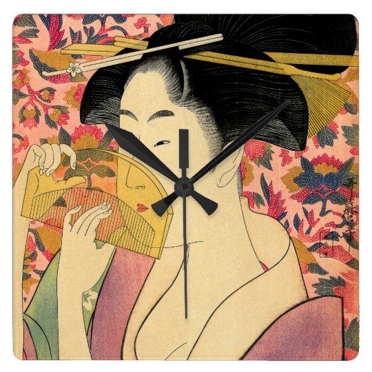 Utamaro: Kushi (Comb). Square Wall Clock