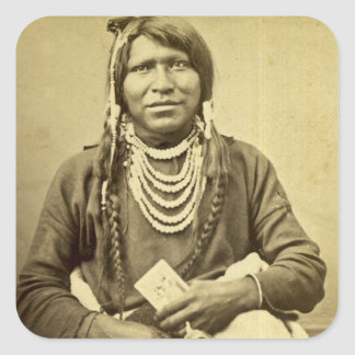 Ute Indian with Pistol and Card Square Sticker
