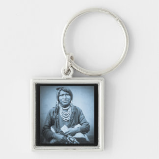 Ute Indian with Pistol Vintage Stereoview Cyan Keychain