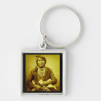 Ute Indian with Pistol Vintage Stereoview Silver-Colored Square Keychain