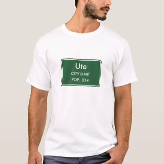 Ute Iowa City Limit Sign T-Shirt
