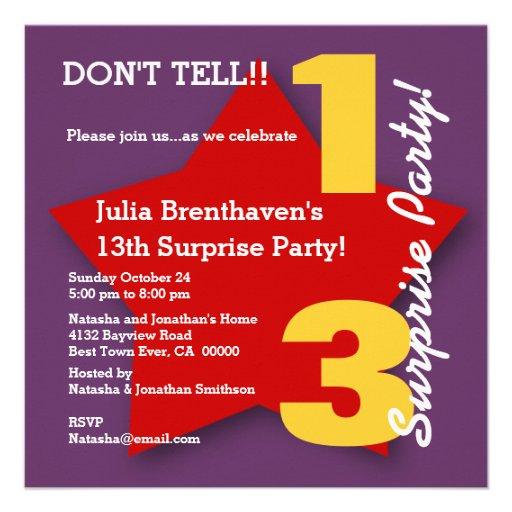UTEMPLATE 13th SURPRISE Teen Birthday RED Star B02 Custom Invitations