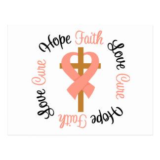 Uterine Cancer Faith Hope Love Cross Postcard