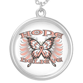 Uterine Cancer Hope Believe Butterfly Round Pendant Necklace