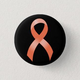 Uterine Cancer Peach Ribbon 1 Inch Round Button