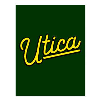 Utica neon light in yellow postcard