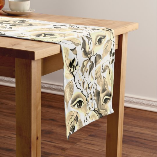 Utopian Sepia Surreal Eyes Design Short Table Runner