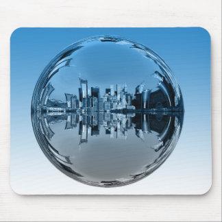 Utopian skyscraper city, mirroring ball, mousepad