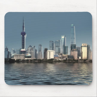 Utopian skyscraper city Skyline and sea mousepad