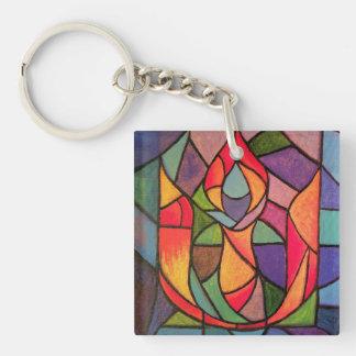 UU Flaming Chalice Art Keychain Unitarian