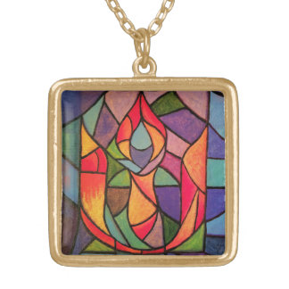 UU Flaming Chalice Art Necklace