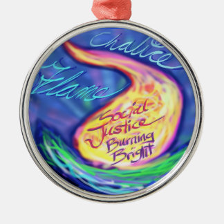 UU Flaming Chalice Silver-Colored Round Ornament