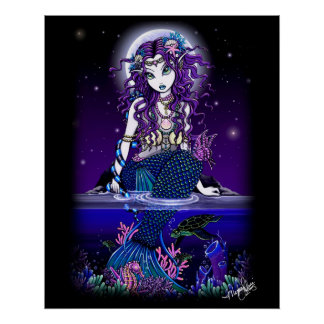 """""""Uxia"""" Midnight Mermaid Poster"""