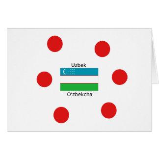 Uzbek Language And Uzbekistan Flag Design Card