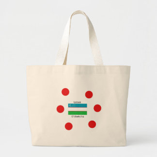 Uzbek Language And Uzbekistan Flag Design Large Tote Bag