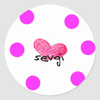 Uzbek Language of Love Design Classic Round Sticker