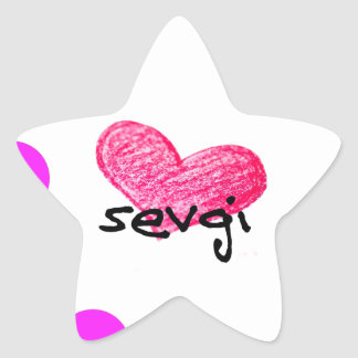 Uzbek Language of Love Design Star Sticker