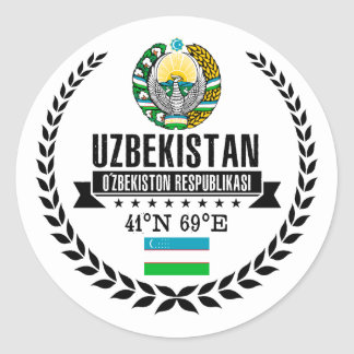 Uzbekistan Classic Round Sticker