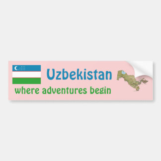 Uzbekistan Flag + Map Bumper Sticker