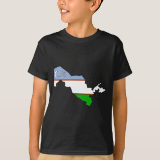 Uzbekistan Flag Map full size T-Shirt