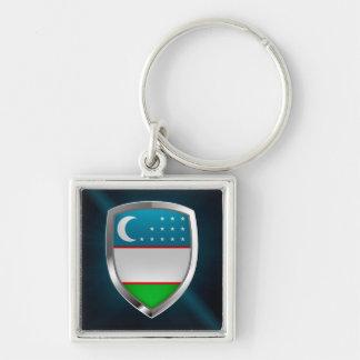 Uzbekistan Metallic Emblem Keychain