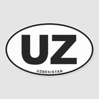 Uzbekistan UZ Oval ID Identification Code Initials Oval Sticker