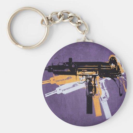 Uzi Sub Machine Gun on Purple Keychains