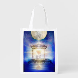 V058 Moon Temple Heart Reusable Grocery Bag