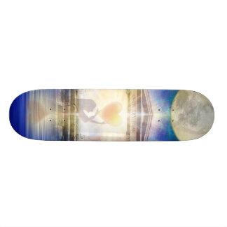 V058 Moon Temple Heart Skateboard Deck