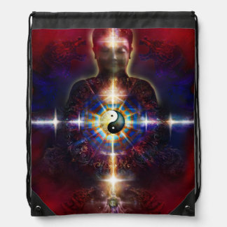 V064 BaGua Buddha Dragon Drawstring Bag